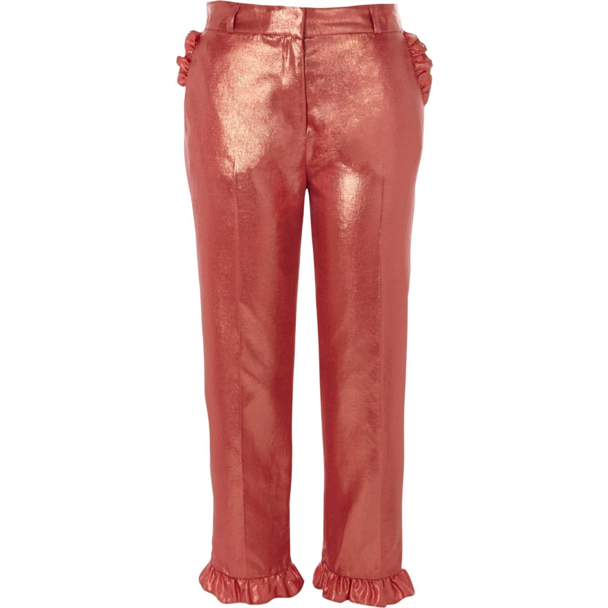 Kurze Hose in Pink-Metallic mit Rüschenbesatz