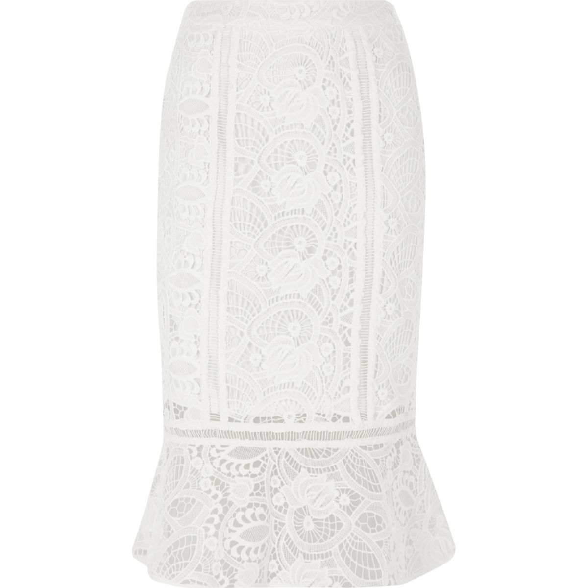 White lace peplum hem pencil skirt