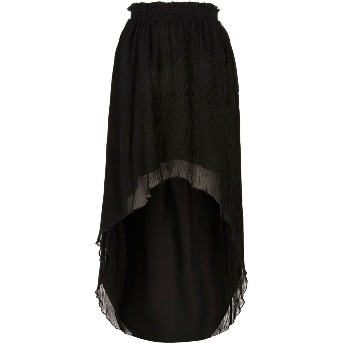 Black pleated high-low maxi skirt