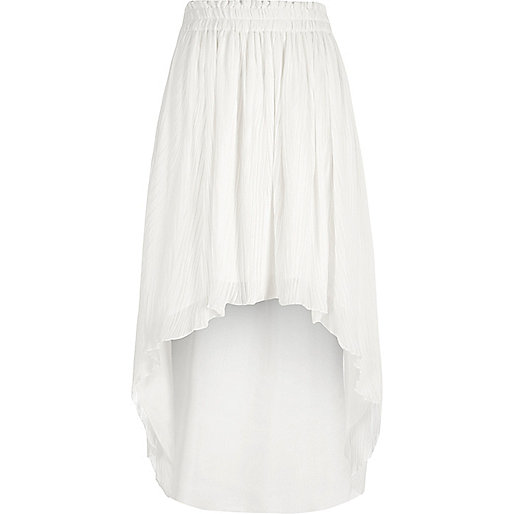 White pleated high-low maxi skirt