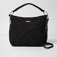 Black scoop oversized underarm bucket bag