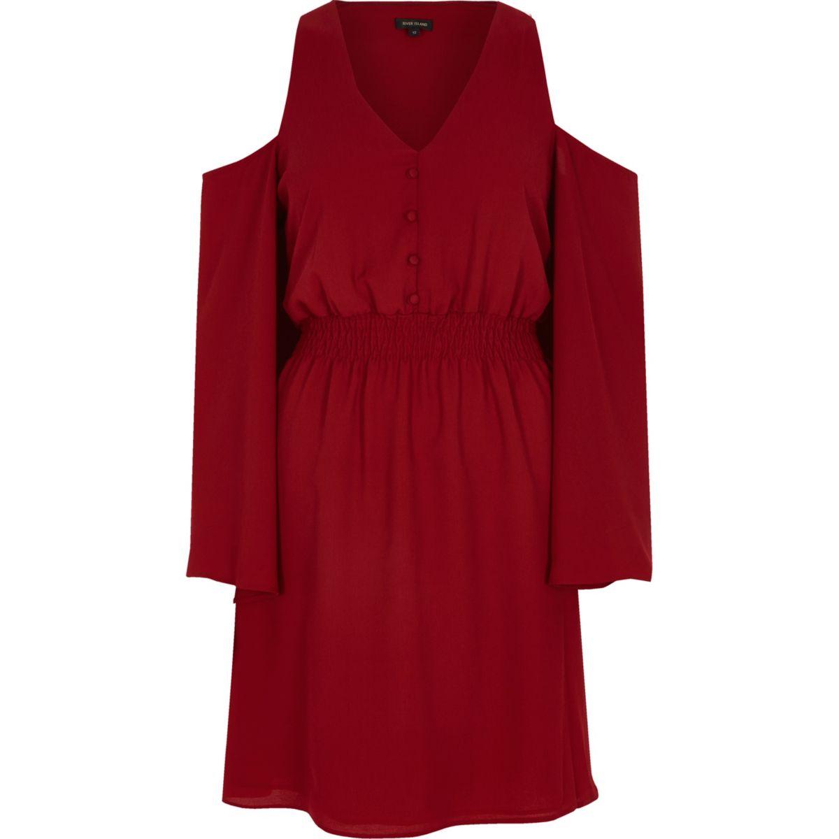 Dark red cold shoulder flare sleeve dress