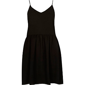 Black drop hem cami slip dress