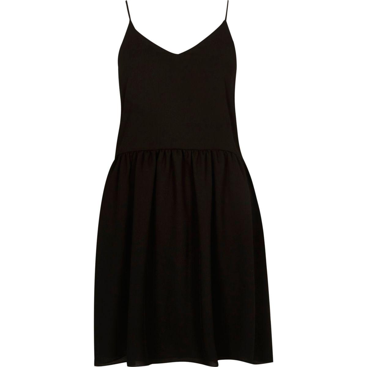 Black drop hem cami slip dress