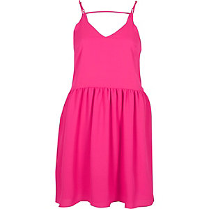 Pink drop hem cami slip dress