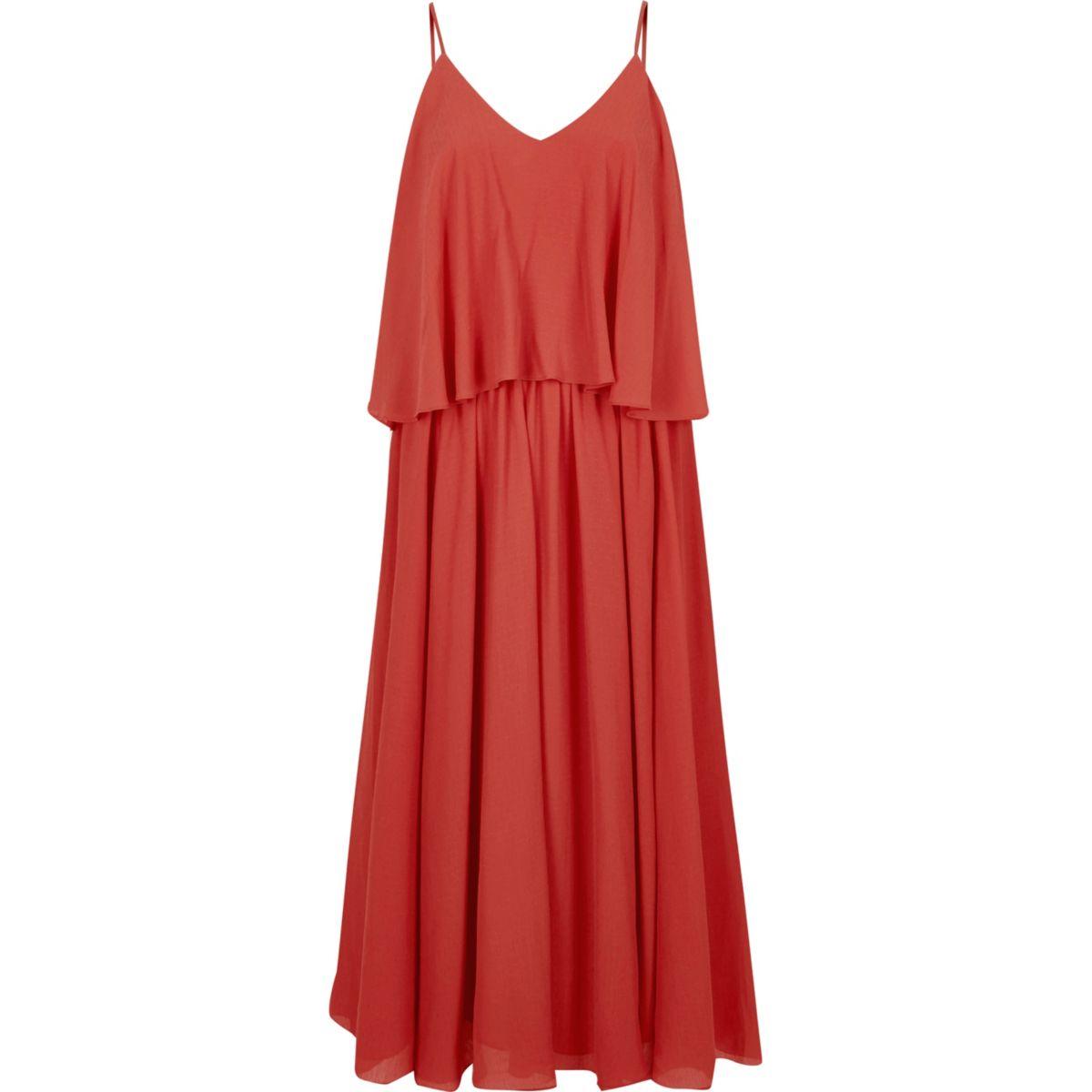 Dark orange layer cami dress