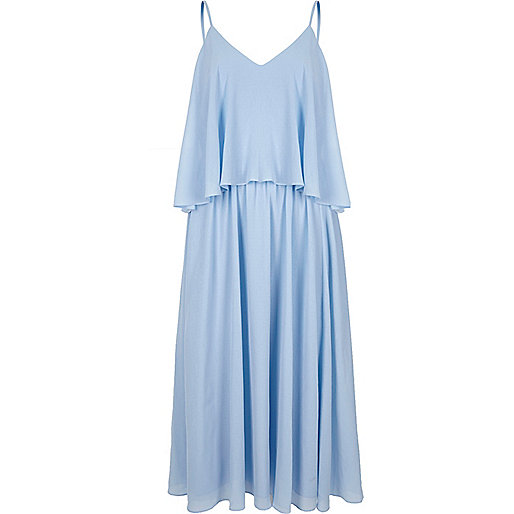 Light blue layer cami midi dress