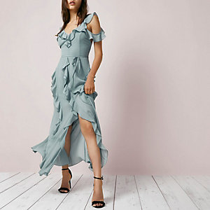 Dark grey frill cold shoulder maxi dress
