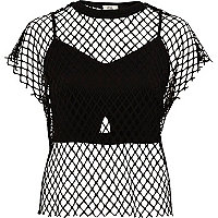 Black mesh bralet T-shirt