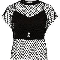 T-Shirt aus schwarzem Mesh