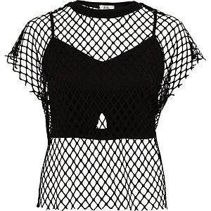 Zwart T-shirt van mesh met bustier