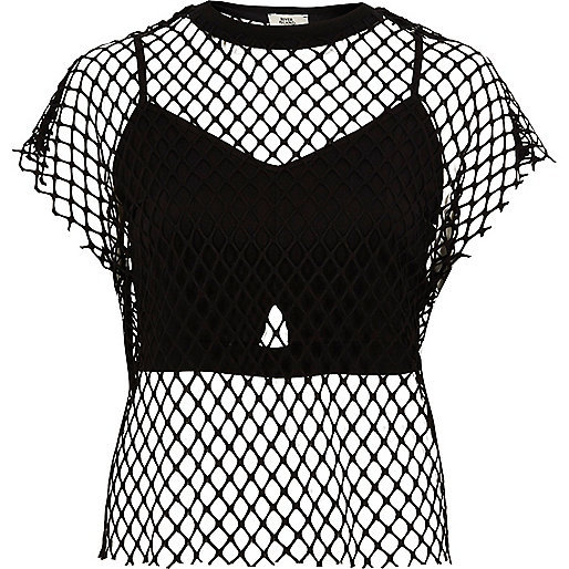 Black mesh bralet T-shirt