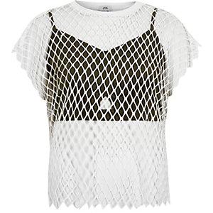 T-shirt en résille avec brassière blanc