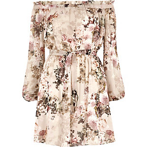 Cream floral print bardot tie front dress