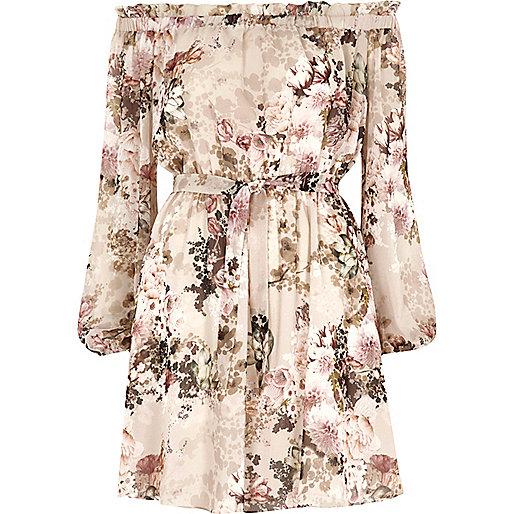 Cream floral print bardot tie front dress
