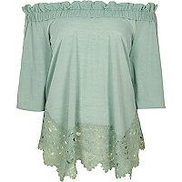 Light green lace hem bardot top
