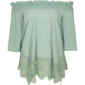 Light green lace hem bardot top