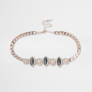 Gold tone faux pearl and gem choker