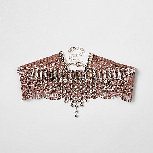 Pink lace diamante embellished choker