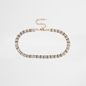 Gold tone square diamante choker