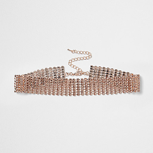 Rose gold tone cup chain choker