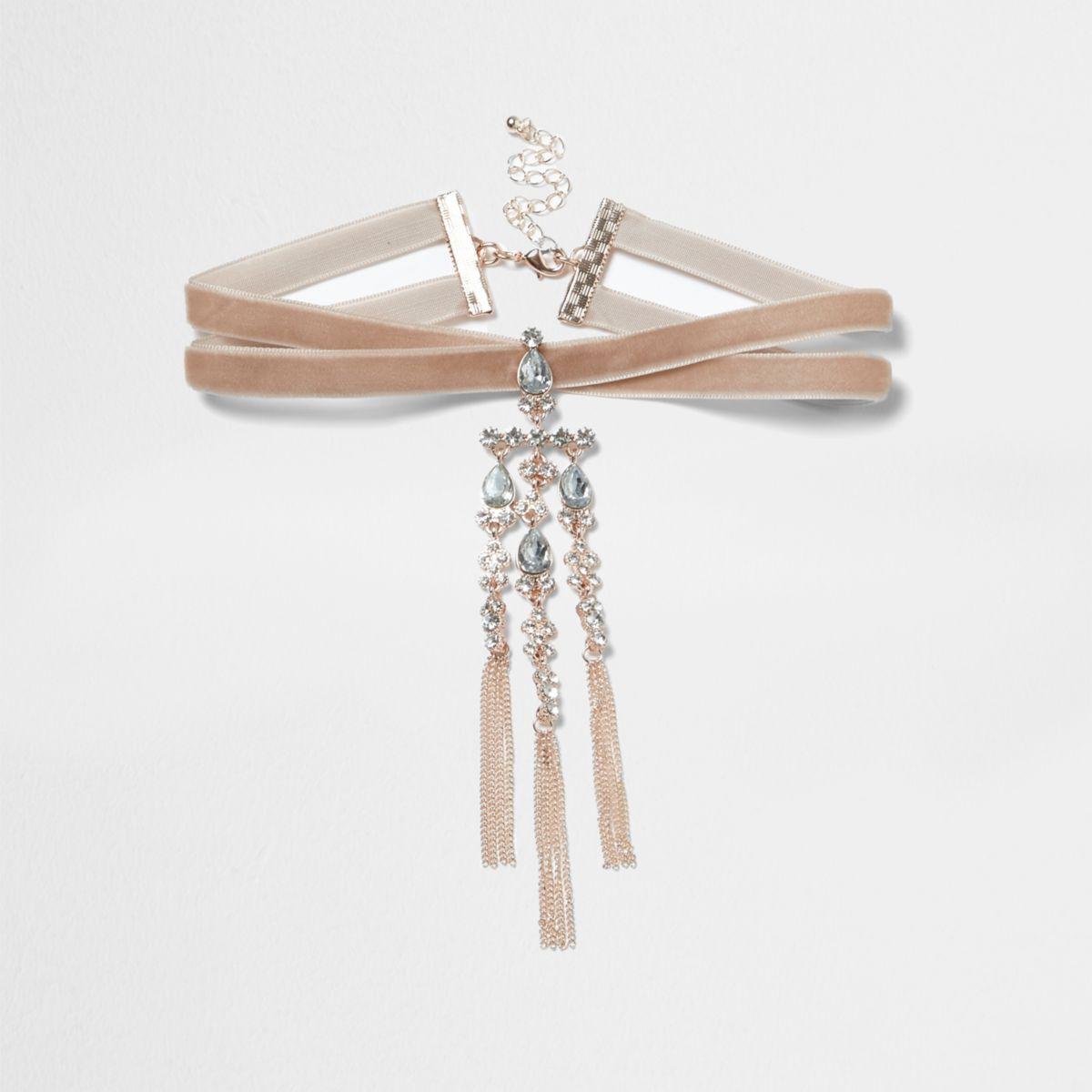 Pink velvet diamante cross choker