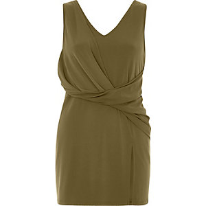 Khaki twist front longline top