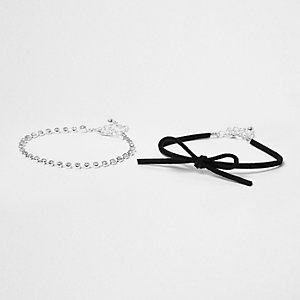 Black bow and chain bracelet set
