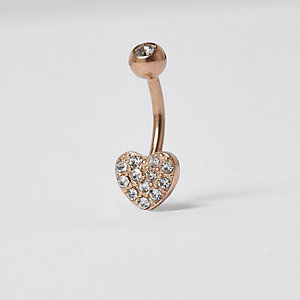 Rose gold tone pave heart belly bar