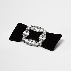Black bow diamante buckle brooch