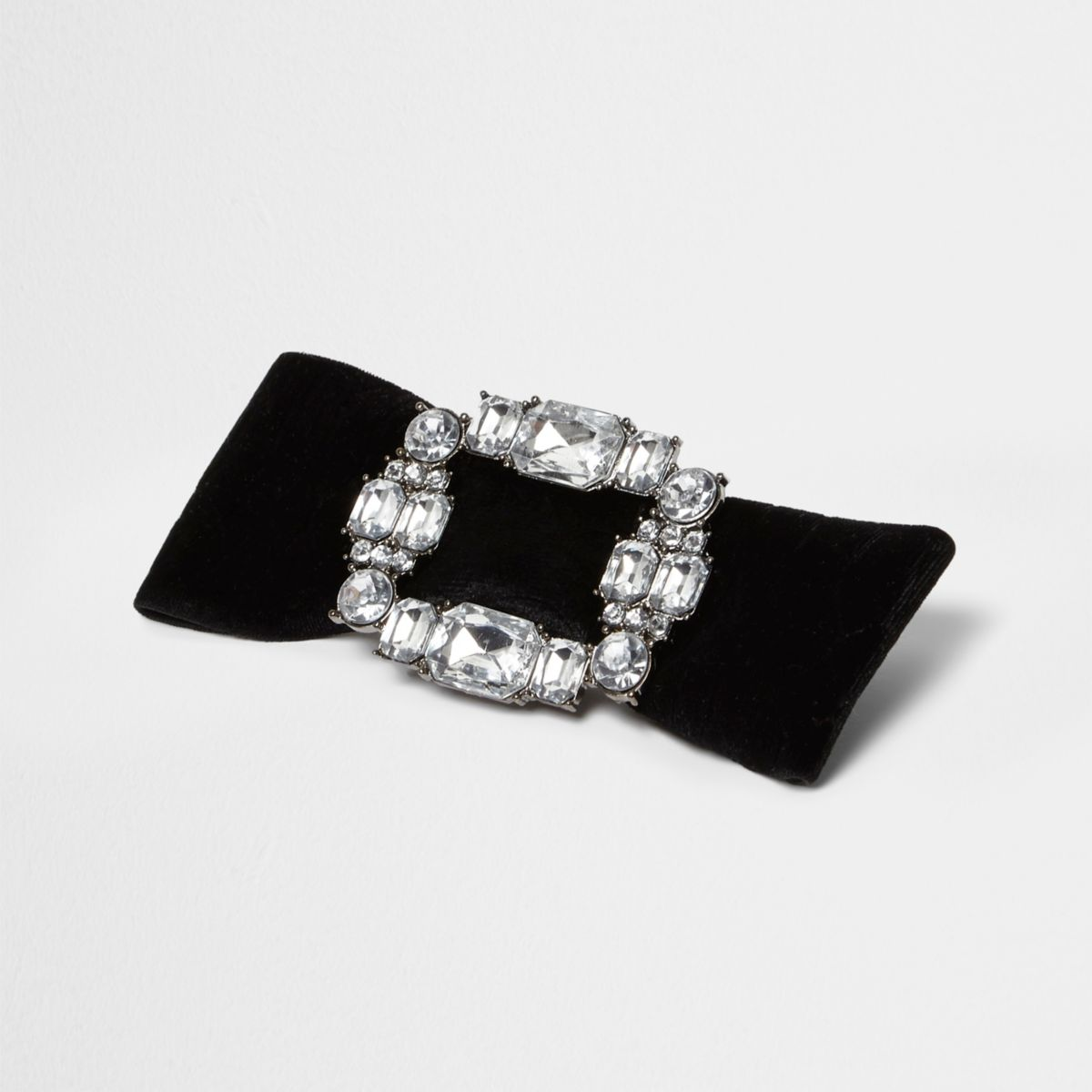 Black bow rhinestone buckle brooch