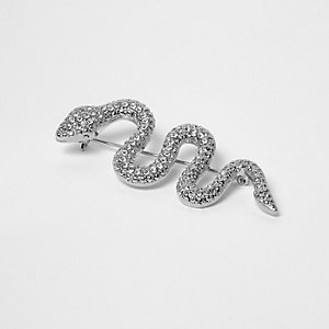 Silver tone diamante snake brooch