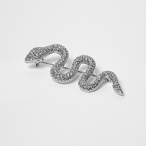 Silver tone rhinestone snake brooch