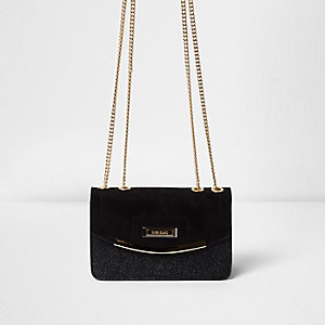 Black glitter cross body bag