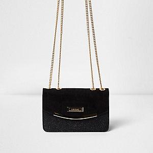 Zwarte crossbodytas met glitter