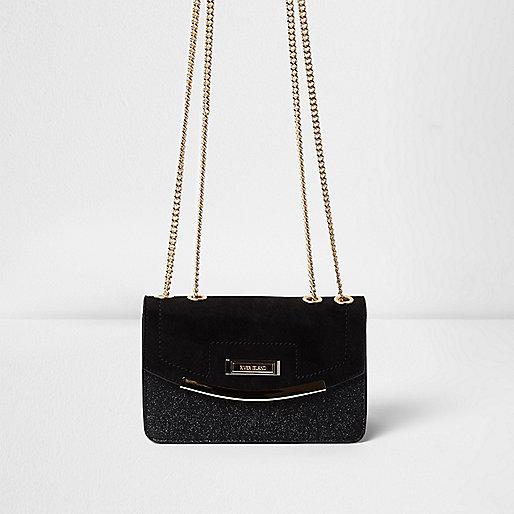 Black glitter cross body bag
