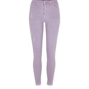 Molly – Jeggings in Helllila mit offenem Saum