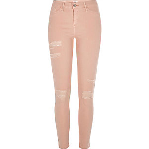Molly – Orange Skinny Jeans im Used-Look