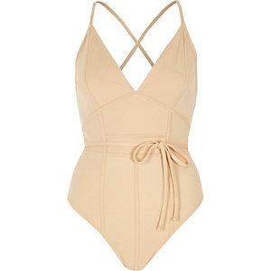 Beige inverted seam bodysuit