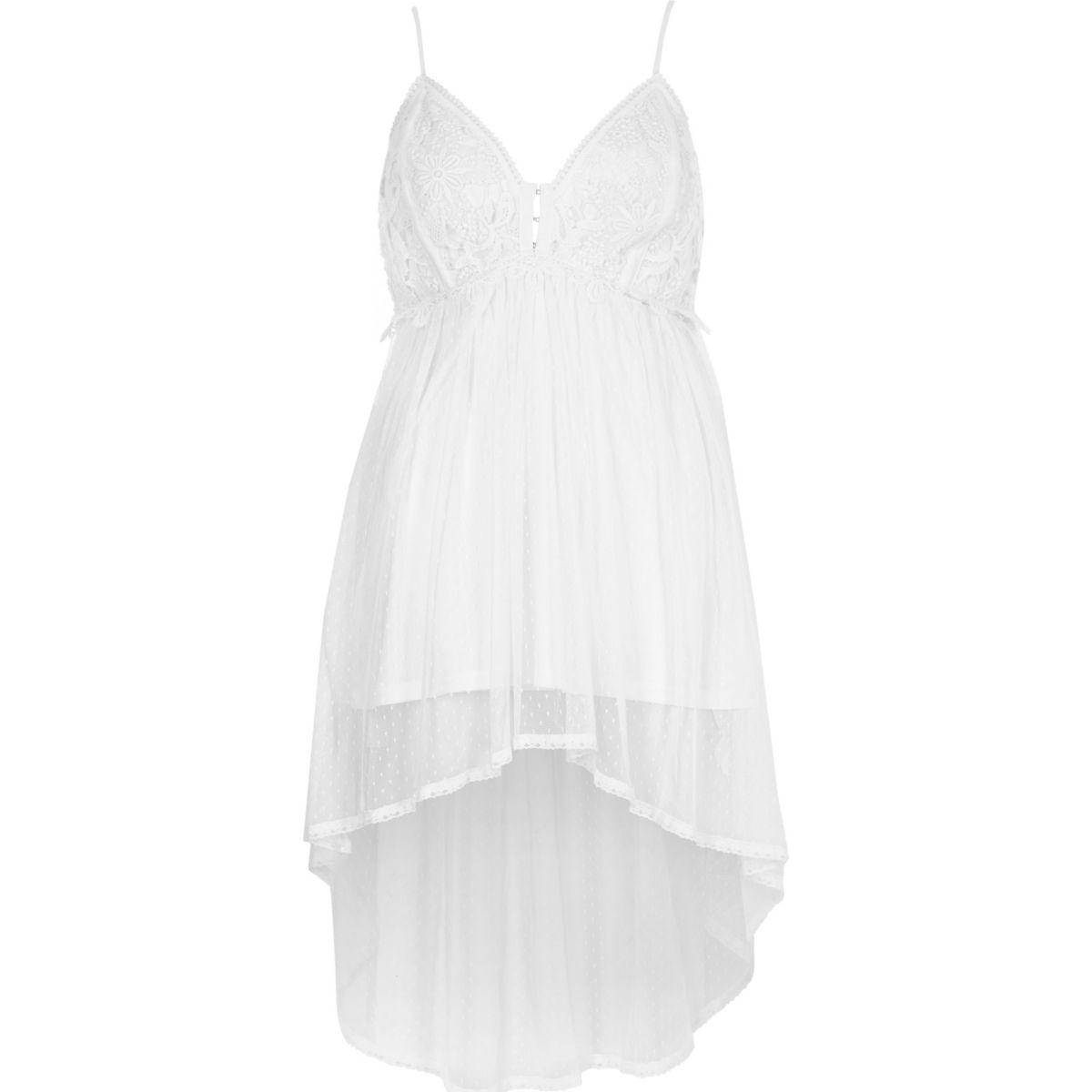White lace longline cami top