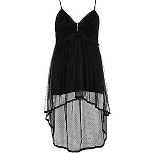 Black lace longline cami top