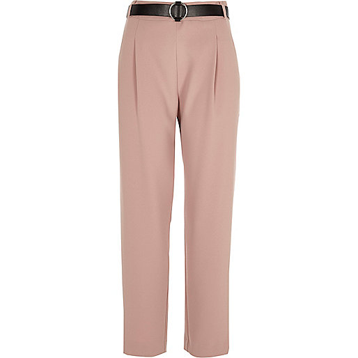 Pink tapered belted trousers