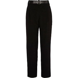 Black tapered belted pants