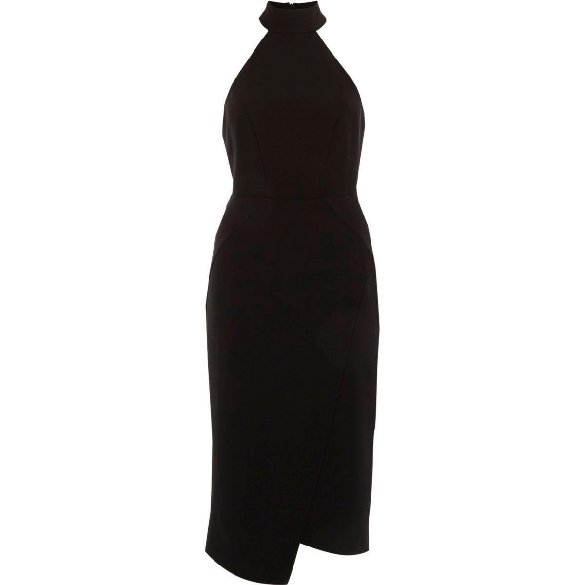 Black high neck wrap front midi bodycon dress