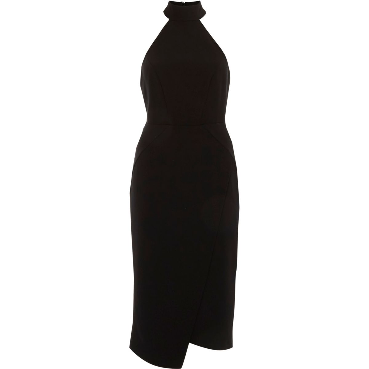 Black high neck wrap front midi bodycon dress