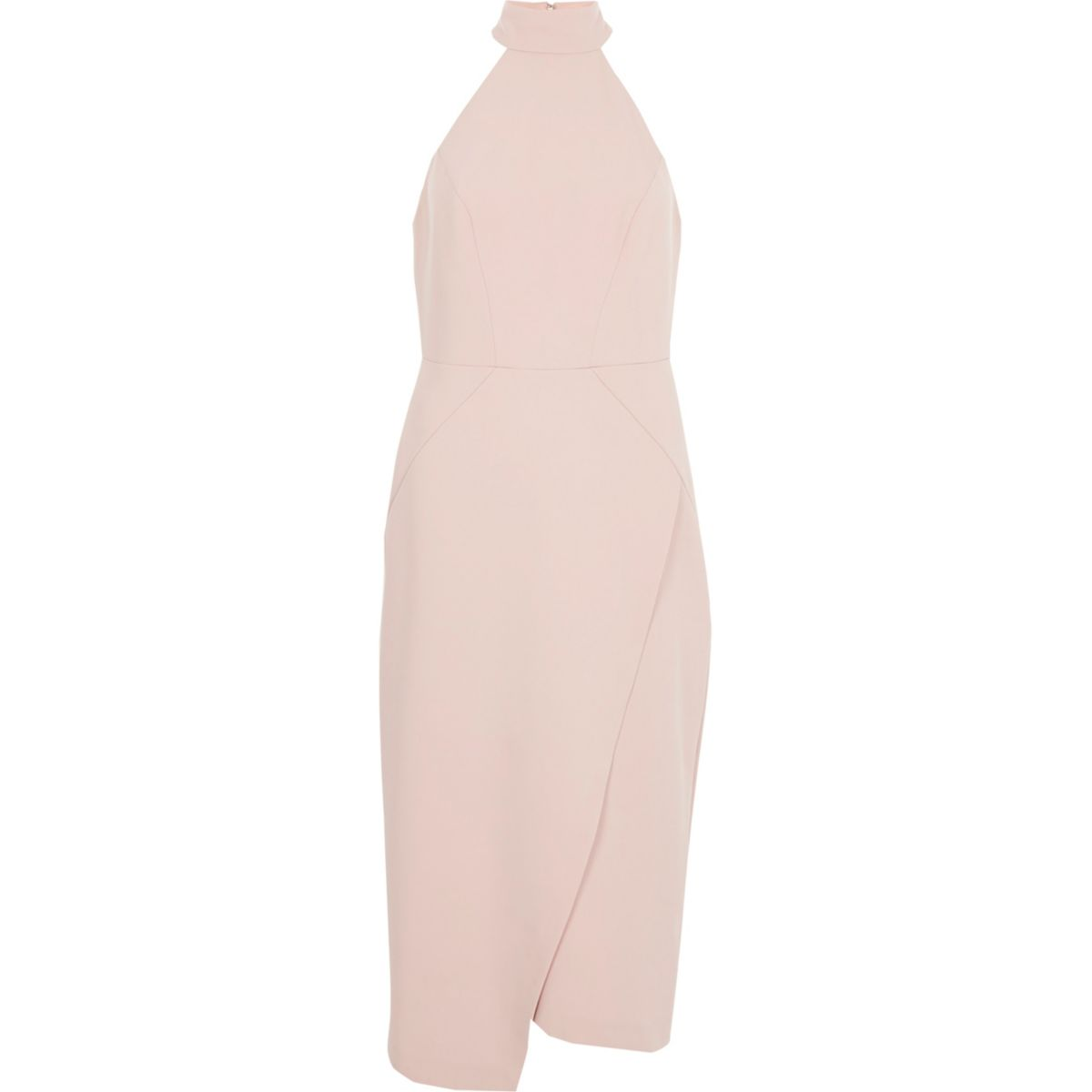 Pink high neck wrap front midi bodycon dress