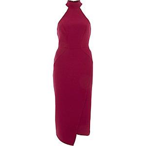 Robe moulante mi-longue rouge foncé à encolure haute drapée