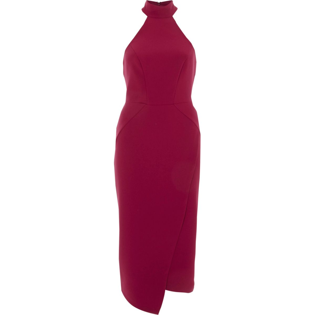 Dark red high neck wrap midi bodycon dress