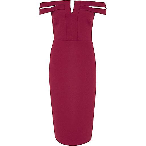 Dark red bardot bodycon midi dress