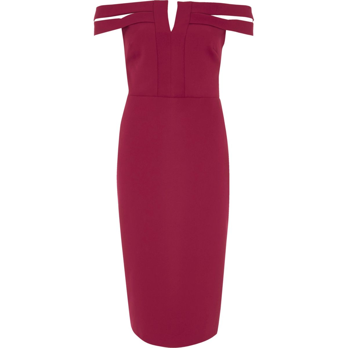 Dark red bardot bodycon midi dress